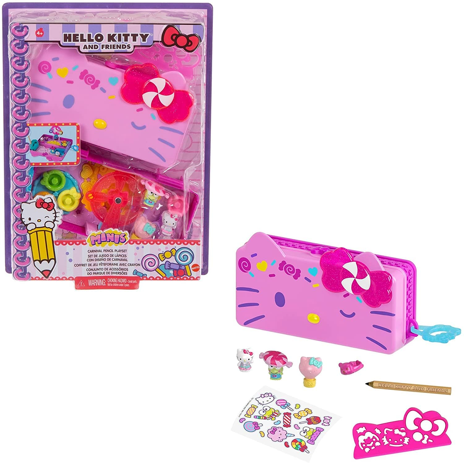 Hello Kitty and Friends Minis Candy Carnival Pencil Case Playset, 2 Sanrio Figures, Stationery $9.93 at Amazon
