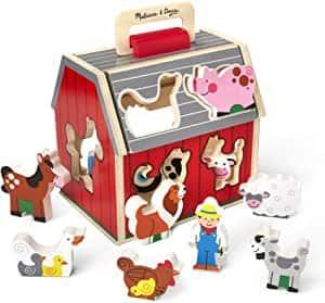 10 pc. Melissa & Doug Wooden Take-Along Sorting Barn Toy, Flip-Up Roof, Handle $16.99 at Amazon