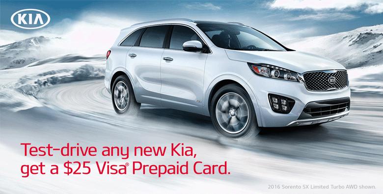 FREE $25 Visa GC - Test Drive New KIA (First 10,000) *Test Drive By 3/31/15
