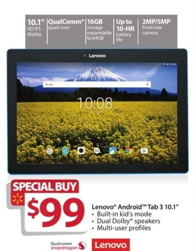 "Walmart Black Friday: 16GB Lenovo Android Tab 3 10.1"" Quad-Core Tablet for $99.00"