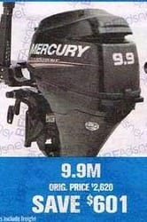 Bass Pro Shops Black Friday: Mercury 9.9M Outboard Motor - 601.00 Off
