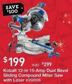 Lowe's Black Friday: Kobalt 12-in. 15-Amp Dual Bevel Sliding Laser Compound Miter Saw with Laser for $199.00