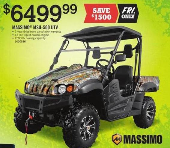 Tractor Supply Co Black Friday: Massimo MSU-500 UTV for $6,499.99
