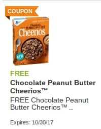 Shaws and Star Market Free Chocolate Peanut Butter Cheerios. All offers Exp. 10/30