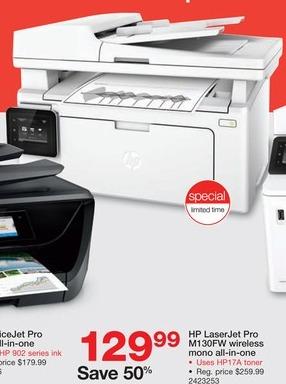 Staples Black Friday: HP LaserJet M130fw Mono All-in-One Laser Printer for $129.99