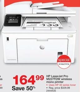 Staples Black Friday: HP LaserJet Pro M227fdw All-In-One Mono Laser Printer for $164.99