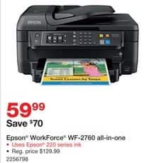 Staples Black Friday: Epson WorkForce WF-2760 Inkjet All-in-One for $59.99