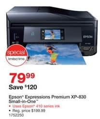 Staples Black Friday: Epson Expression Premium XP-830 Small-in-One Inkjet Printer for $79.99