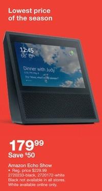 Staples Black Friday: Amazon Echo Show White for $179.99