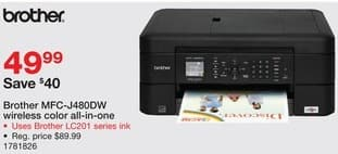 Staples Black Friday: Brother MFC-J480DW Wireless Color Inkjet All-In-One Printer for $49.99