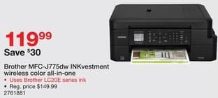 Staples Black Friday: Brother MFC-J775DW INKvestment Wireless Color Inkjet All-in-One Printer for $119.99