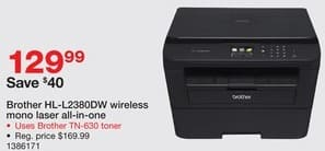 Staples Black Friday: Brother HL-L2380DW wireless Mono Laser all-in-one Printer for $129.99
