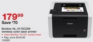 Staples Black Friday: Brother HL-3170CDW Wireless Color Laser Printer for $179.99