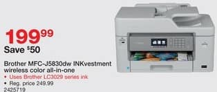 Staples Black Friday: Brother MFC-J5830DW INKvestment Wireless Color All-In-One Printer for $199.99