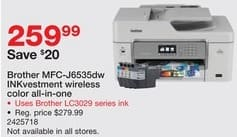Staples Black Friday: Brother MFC-J6535dw INKvestment Wireless Color All-In-One Printer for $259.99