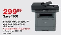 Staples Black Friday: Brother MFC-L5850DW Wireless Mono Laser all-in-one Printer for $299.99