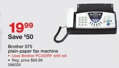 Staples Black Friday: Brother 575 Plain-Paper Fax Machine for $19.99