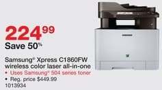 Staples Black Friday: Samsung Xpress C1860FW Wireless Color Laser All-in-One Printer for $224.99