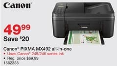 Staples Black Friday: Canon PIXMA MX492 Wireless All-in-One Printer for $49.99