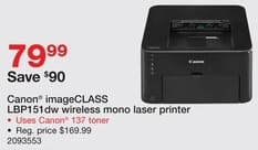 Staples Black Friday: Canon ImageCLASS LBP151dw Wireless Mono Laser Printer for $79.99