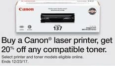 Staples Black Friday: Buy a Canon Laser Printer, Get 20% Off Any Compatible Toner - 20% off