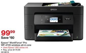 Staples Black Friday: Epson WorkForce Pro WF-4720 Wireless All-in-One Inkjet Printer for $99.99