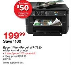 Staples Black Friday: Epson WorkForce WF-7620 Wide-Format Printer for $199.99