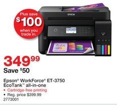 Staples Black Friday: Epson WorkForce ET-3750 EcoTank All-in-One Printer for $349.99