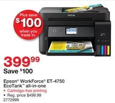 Staples Black Friday: Epson WorkForce ET-4750 EcoTank All-in-One Printer for $399.99