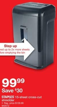 Staples Black Friday: Staples 15-Sheet Cross-Cut Shredder for $99.99