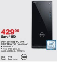 Staples Black Friday: Dell Inspiron i3668-5168BLK Desktop, i5 Processor, 1TB HDD, 8GB RAM, Win10 for $429.99
