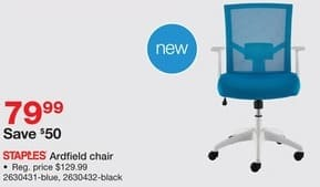 Staples Black Friday: Staples Ardfield Blue or Black Chair for $79.99