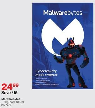 Staples Black Friday: Malwarebytes for $24.99
