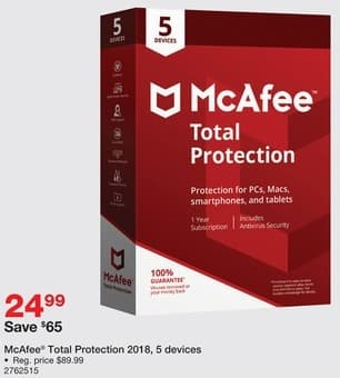 Staples Black Friday: McAfee Total Protection 2018, 5 Devices for $24.99