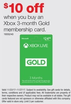 Staples Black Friday: XBOX 3-Month Gold Membership Card - $10 off