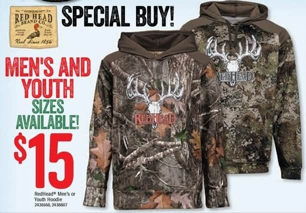Bass Pro Shops Black Friday: Redhead Men's or Youth Hoodie for $15.00