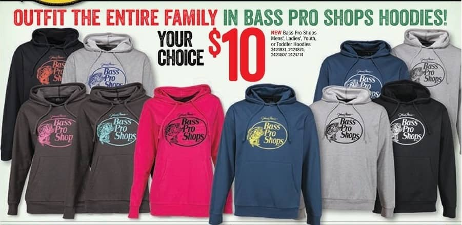 Bass Pro Shops Black Friday: Bass Pro Shops Hoodies, Men's, Ladies, Youth or Toddler for $10.00