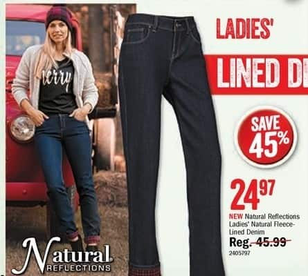 Bass Pro Shops Black Friday: Natural Reflections Ladies' Natural Fleece-Lined Denim for $24.97