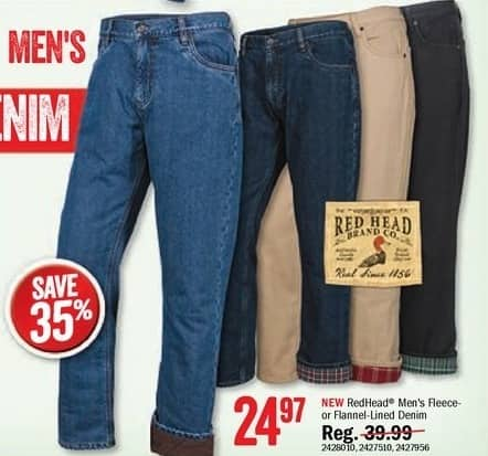 Bass Pro Shops Black Friday: RedHead Men's Fleece or Flannel Lined Denim for $24.97
