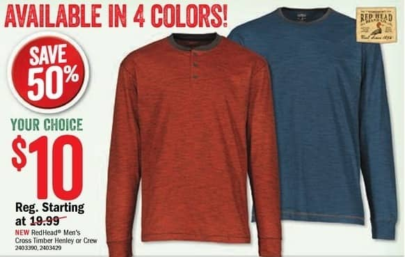 Bass Pro Shops Black Friday: RedHead Men's Cross Timber Henley or Crew Shirt for $10.00