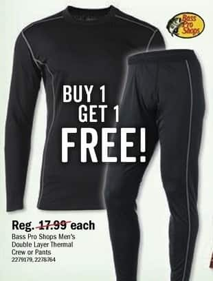 Bass Pro Shops Black Friday: Bass Pro Shops Men's Double Layer Thermal Crew or Pants - B1G1 Free