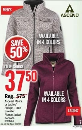 Bass Pro Shops Black Friday: Ascend Men's or Ladies Sherpa-Lined Sweater Fleece Jacket, Assorted Colors for $37.50