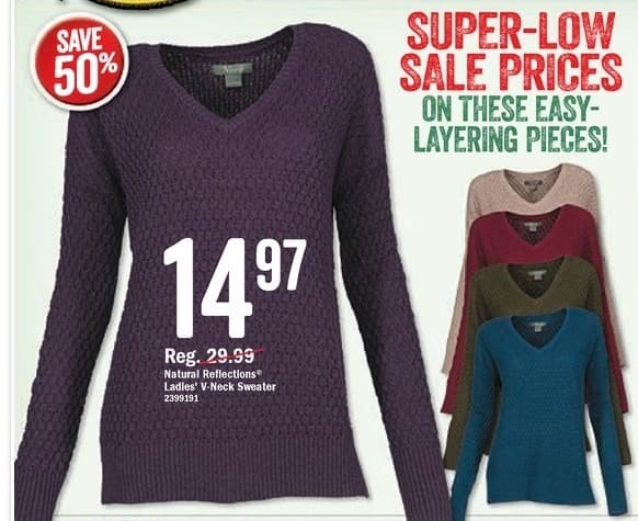 Bass Pro Shops Black Friday: Natural Reflections Ladies' V Neck Sweater, Assorted Colors for $14.97