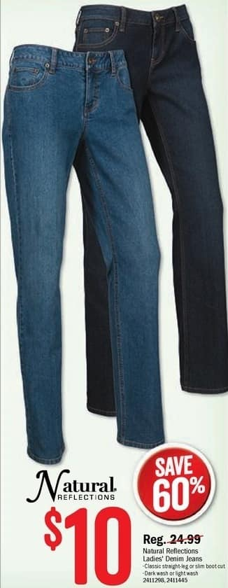 Bass Pro Shops Black Friday: Natural Reflections Ladies Classic Straight-Leg, Slim Boot Cut, Dark Wash or Light Wash Denim Jeans for $10.00