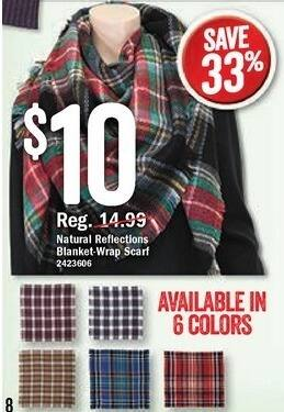 Bass Pro Shops Black Friday: Natural Reflections Blanket Wrap Scarf, Assorted Colors for $10.00