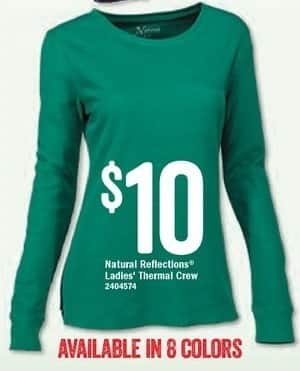Bass Pro Shops Black Friday: Natural Reflections Ladies' Thermal Crew, Assorted Colors for $10.00