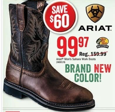 Bass Pro Shops Black Friday: Ariat Sahara Men's Work Boots for $99.97