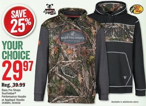 Bass Pro Shops Black Friday: Bass Pro Shops Mens TrueTimber Performance or Applique Hoodie for $29.97