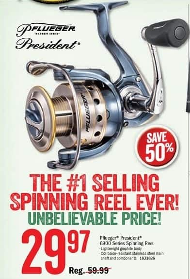 Bass Pro Shops Black Friday: Pflueger President 6900 Series Spinning Reel for $29.97