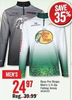 Bass Pro Shops Black Friday: Bass Pro Shops Men's 1/4-zip Fishing Jersey for $24.97